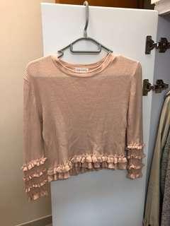 Club Monaco ruffle crop sweater