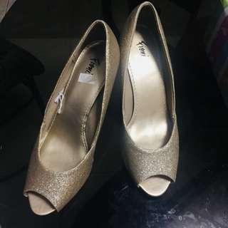 Gold peep toe heels