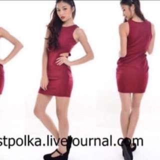Maroon Bodycon side cut out Dress