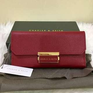 Authentic Nwt Charles & Keith Push-Lock Long Wallet Red