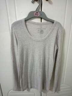 Lowry's Farm Light Grey Holographic Long Sleeve Top Ribbed