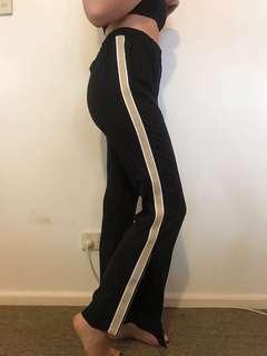 Sporty look black pants high waisted