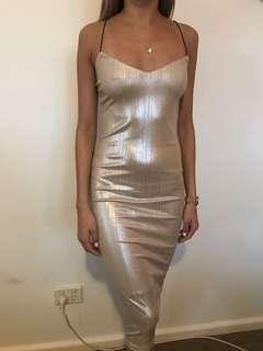 Champagne metallic bodycon midi dress