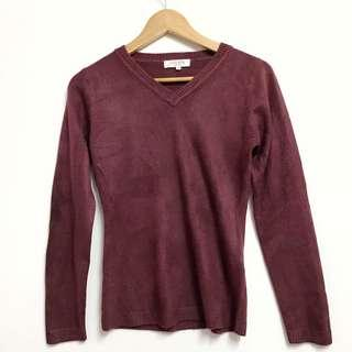 KNIT TOP MAROON