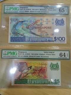 A pair of Singapore Bird $100 & $5 Dollars Specimen UNC