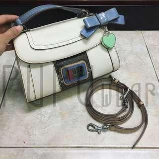 guess hand bag with long strap white purple ribbon PUPUwear