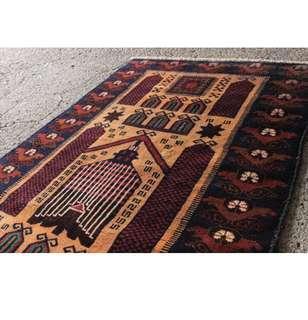 🚚 (已賣出)Mosque design アフガン産 手編羊毛地毯