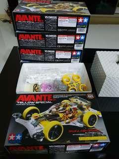Tamiya Mini 4wd Avante Yellow Specialx5 -clear body - vs chasis