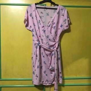 Pink wrap around dress