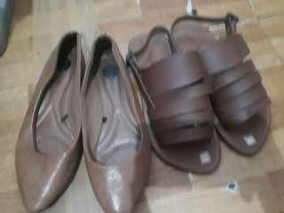 Brown flat shoes and sandals