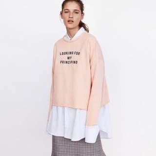 Zara oversized pastel pink sweater