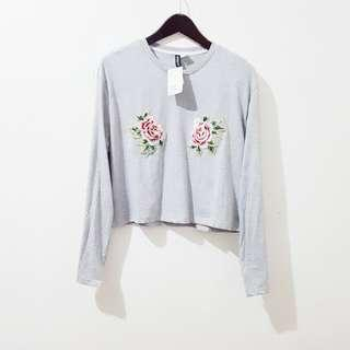 H&M semi cropped floral patched longsleeves