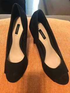 mango open toe black stiletto heels