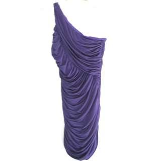 US Purple One Shoulder Dress
