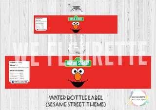 Sesame Street Theme Water Bottle Label