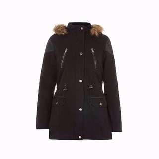 New Look Black Faux Fur Collar Parka