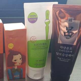CNKCOS beans cleanser, Mediheal Tea Tree Care Cleansing Foam, Colgate Sensitive Pro Relief, Ryo Conditioner