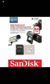 MicroSD Micro SD 64GB High Endurance Sandisk Dashcam Blackvue IRoad Thinkware