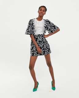 Zara embroidered bib dress