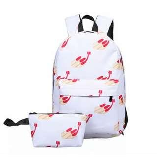 Fashion Printing Emoji School Bags 2 Pieces Set Backpack Canvas Travel bag