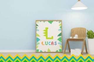 Personalised Kids Name & Initial Framed Print - Dinosaur Theme