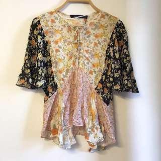 Zara floral patchwork top