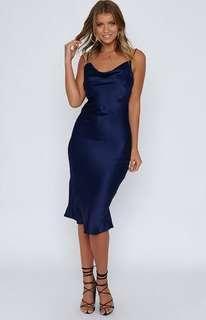 SLIP SATIN NAVY DRESS