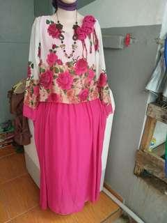 Gamis pesta pink bunga
