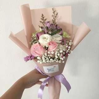 Pink Rose with Eustomas and Baby Breath Birthday Bouquet
