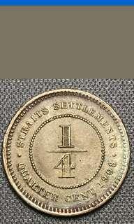 Strait settlement king Edward quarter cent coin 1908