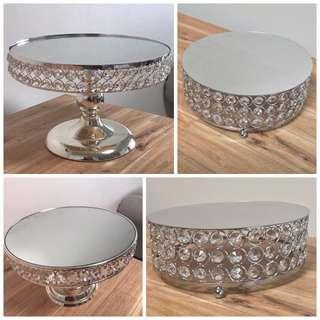 Brand  New Silver Crystal Cake stands