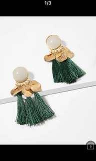 Gemstone & Disc Tassel Drop Earrings