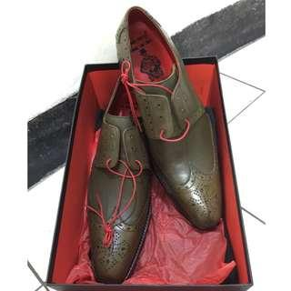 JEFFERY~WEST  全新 皮面皮底 紳士鞋  英國手工制 UK 10