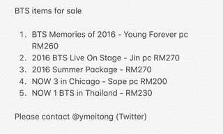 BTS Preloved Items [Prefer to sell in set]