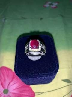 Unheated Ruby Ring Set in White Gold and Diamonds