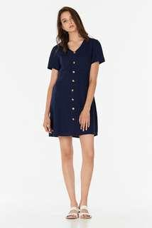 TCL The Closet Lover Marella Linen Dress In Navy Button Down