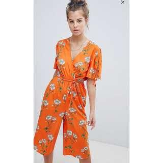 UK14 - UK18 Wednesday's Girl Front Jumpsuit Floral in Daisy Print Plus Size