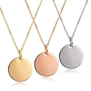 🚚 Customise Stainless Steel Circular Tag Necklace