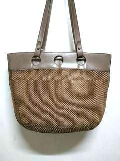 SILVANO BIAGINI BROWN WEAVED GENUINE LEATHER TOTE BAG MADE IN ITALY