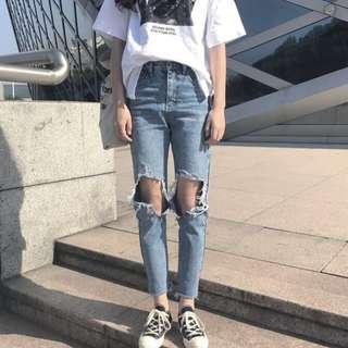 [PO] Basic denim ripped highwaisted jeans