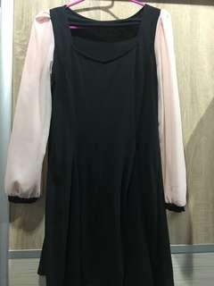 Black and soft peach dress