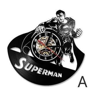 Clock Superman - Vinly record wall clock (Piring Hitam)