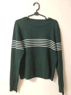 🚚 深綠色落肩寬鬆大學T 深綠色條紋毛衣