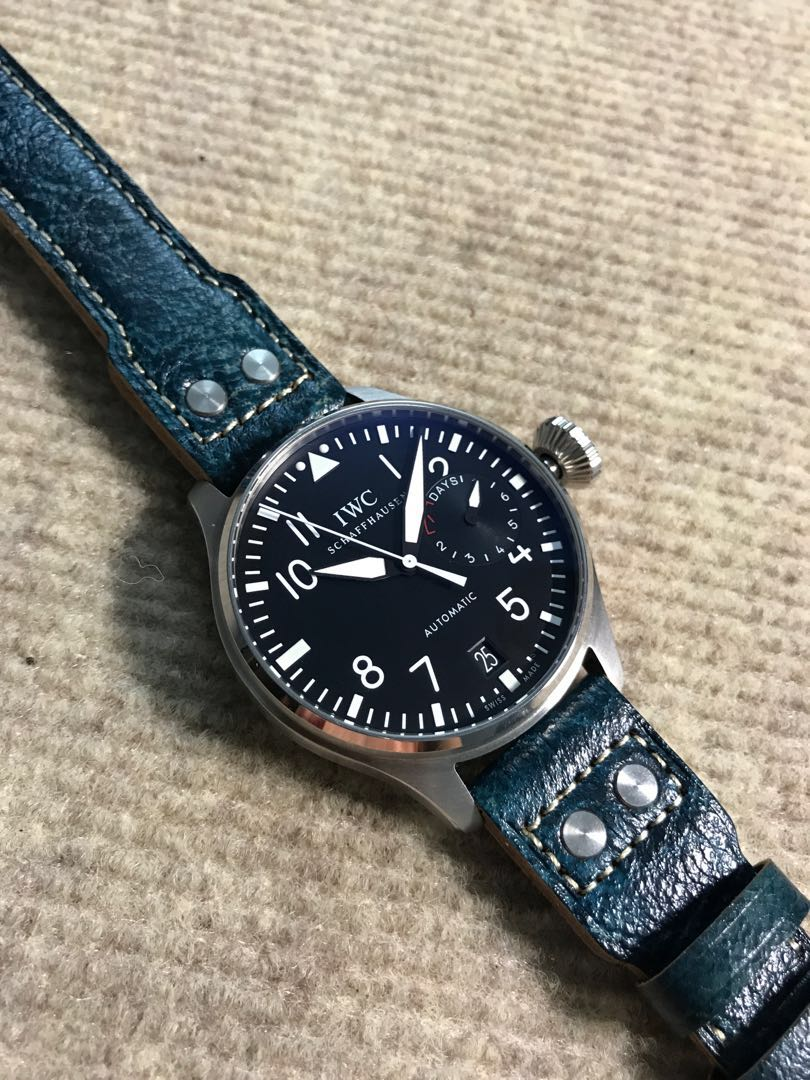2f2fce9c0 22/18mm Special 'Deep Ocean' Blue Textured Calf Leather Strap for ...