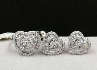 Diamond Earrings and Ring Set