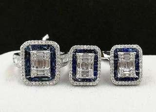 On Sale! Diamond Earrings and Ring Set in 14ct Gold Approx 2.5tcw Diamonds 1.5tcw Blue Sapphire VVS F-I Diamonds 💯Genuine and Earth-mined Diamonds  Top Quality HK Settings  Grab your diamond ring now!   #diamondsareforever