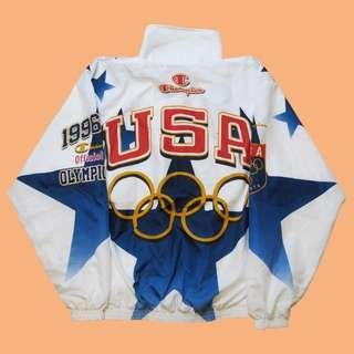 Vintage Champion 出品 96年 亞特蘭大奧運會 白色紀念風衣夾克 古著 / 90s / 染印 / 冠軍牌