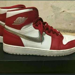 Air jordan 1 retro high silver medal white gym red ORIGINAL
