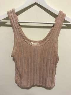 🚚 H&M 裸粉色 短版背心