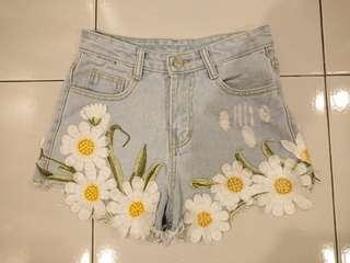 Flash Deal! Denim Shorts with Flowers Size XS